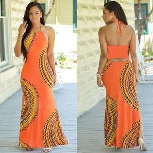 Dresses & Skirts - Womens Maxi Bohemian Dress Halter-style Slim Fit